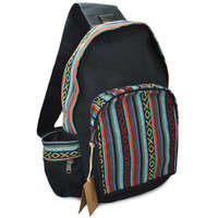 Mato Canvas Boho Sling Bag Backpack Bohemian Tribal Aztec Pattern Shoulder Crossbody Daypack Black