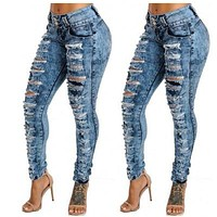 Ripped Hole Denim Jeans