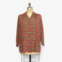 Vintage 40s MATERNITY TOP / 1940s Paisley Rayon Loose Fit Smock Top Blouse