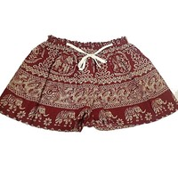 Women Spring Summer Vintage Elephants Printed Red Shorts