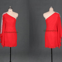 Short red chiffon homecoming dress with Rhinestone,unique cheap one shoulder prom gowns,latest simple dress for holiday party.