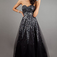 Strapless Sequin Black Ball Gown