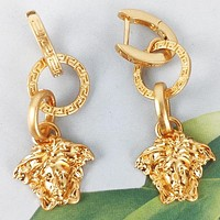 Versace New fashion human head long earring women Golden