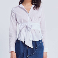 Silence + Noise Poplin Button-Down Bow-Tie Top | Urban Outfitters