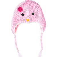 Pink Bird with Flower Knit Earflap Beanie
