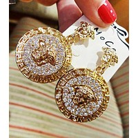 Versace Fashion New More Diamond Long Earring Women Golden