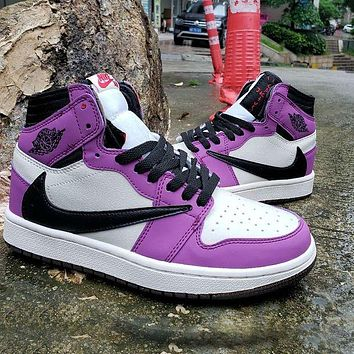 NIKE Barb Air Jordan 1 High OG TS SP basketball shoes white purple black hook