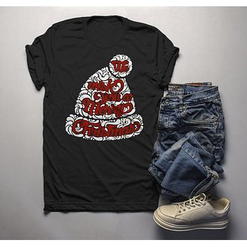 Men's Wish You Merry Christmas Winter Hat T-Shirt Xmas Shirts Hipster Graphic Tee