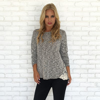 Let's Get Away Knit Sweater Top In Grey
