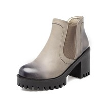 Round Toe High Heels Ankle Boots Platform Thick Heel Women Shoes 76184111
