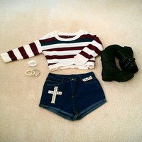 Light Blue and Dark Blue CROSS Studded High wasted shorts!