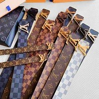 LV Belt Louis Vuitton Gold Silver Buckle Monogram Women Men Belt Multi-color Optional
