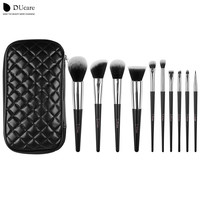 DUcare 10pcs Brush Set with Travel Case High Quality Softer Bristles Brand Make Up Brushes Comestic Kit