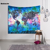 Babaite Colorful World Map Wall Hanging Door Decor Curtain Mandala Tapestry Indian Carpet Creative Art Hanging Hippie Bedspread