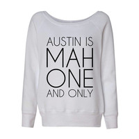 Austin is Mah One And Only Mahone Wideneck Slouchy Women's Sweatshirt Triblend White Fashion Grey Marble Mahomie
