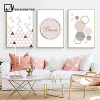 Pink Geometry Canvas Art Posters and Prints Abstract Painting Nordic Style Wall Pictures for Living Room Modern Home Decor