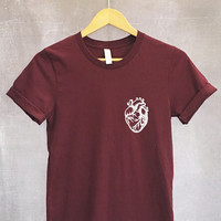 Anatomical Heart Shirt in Maroon