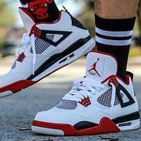 NIKE Air Jordan 4 Retro Women Men Fashion Casual Sneakers Sport Shoes