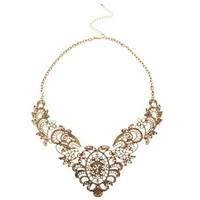 Luxury Retro Hollow-out Floral Pattern Pendant Women's Necklace = 1841500804