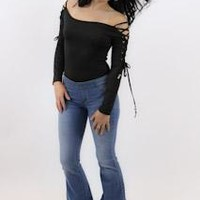 Bodysuit With Lace Up Sleeves