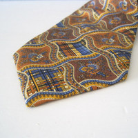 YSL tie Yves Saint Laurent necktie brown geometric tribal vintage tie men father gift for him vintage fashion