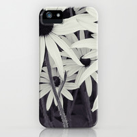 Daisies black and white iPhone & iPod Case by Shalisa Photography
