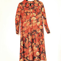 Vintage Dress In Autumn Colors With Orange And Brown Leaves Pattern, Danish Design, Size 42 Retro Long Sleeve Dress