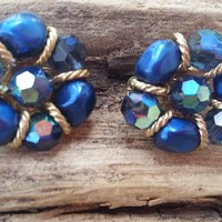 Castlecliff navy blue Aurora Borealis AB and  gold toned cluster clip on earrings vintage signed