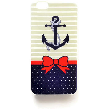 iPhone 6 Plus Case Red Bow Anchor iPhone 6 Plus Soft Case Retro Back Cover Silicone For iPhone 6 Slim Design Case Polkadot Pinup 1212