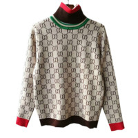 Gucci Fashion Trending Long Sleeve High Neck Print Pullover Sweater G
