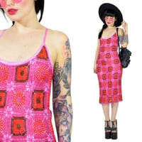 vintage 90s hot pink crochet dress Granny Squares pastel soft grunge club kid raver clueless bodycon macrame