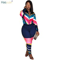HAOYUAN Two Piece Women Set Autumn Outfits Plus Size Tops And Bodycon Pants Sweat Suits Casual Tracksuits 2 Piece Matching Sets