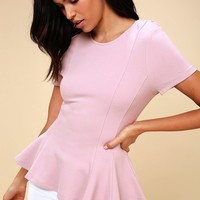Briana Lavender Short Sleeve Peplum Top