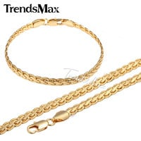 Trendsmax JEWELRY SET 5MM Gold Filled Necklace Chain Mens Chain Womens Necklace Bracelet Hammered Flat Wheat chain  GSM06