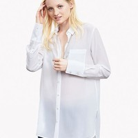 Banana Republic Womens White Silk High/Low Blouse