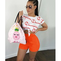 Champion Summer Fashion Woman Casual Print Short Sleeve Top Shorts Set Two Piece Sportswear Orange