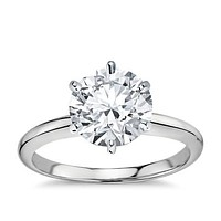 A Perfect 14K White Gold 3CT Round Cut Solitaire Russian Lab Diamond Ring