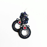 Dark blue and black earrings. Flashy elegant jewelry. Soutache handmade jewelry.