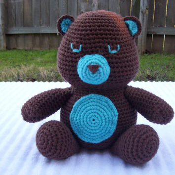 Crochet Teddy Bear in Brown and Teal, Crochet Animal, Crochet Stuffed Animal, Forest Nursery Decor