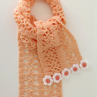 Orange Crochet Scarf with Decorative Flowers  -  Unique Handmade Pastel Orange Scarf - Winter Scarf with Crochet Daisies