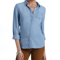 South Moon Under Vintage Long Sleeve Button Down Chambray Shirt