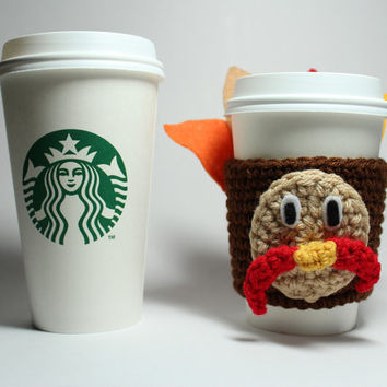 Turkey coffee cozy, Thanksgiving cup sleeve, crochet can cozy, tom turkey coffee sleeve