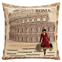 "Jastore® Polyester Rome Colosseum Cushion Cover Pillowcase 18""x18"""