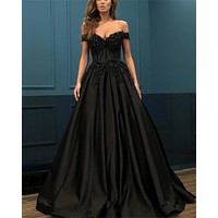 Black Prom Dresses Long Satin Off the Shoulder Beaded Party Evening Dress