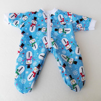 """BITTY BABY PAJAMAS, blue tossed snowmen snowflake pajamas, handmade clothes, for 15"""" bitty baby doll"""