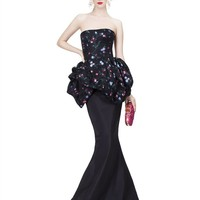 STRAPLESS GOWN WITH BUBBLE HEM PEPLUM