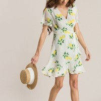 Miranda Lemon Print Ruffle Wrap Dress