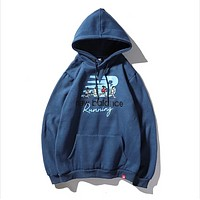 New Balance Autumn And Winter New Fashion Letter People Print Leisure Women Men Hooded Long Sleeve Sweater Blue