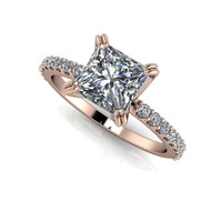 Forever One Moissanite Square Brilliant and Diamond Engagement Ring - Customize Your Ring
