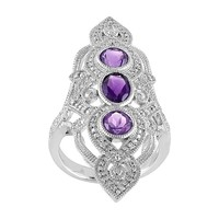 African Amethyst & 1/10 Carat T.W. Diamond Sterling Silver 3-Stone Ring (Purple)